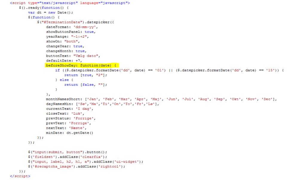 Sådan bruger du jquery til at vælge bestemte datoer i en datepicker