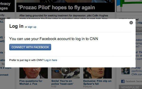 Eksempel på hvordan CNN giver mulighed for at brugerne kan logge på med deres Facebook-konto